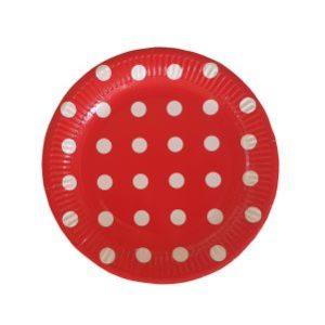 צלחת חד פעמי אדומה עם נקודות-במבי הפתעות