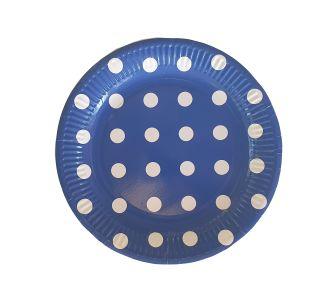 צלחת חד פעמי כחולה עם נקודות-במבי הפתעות